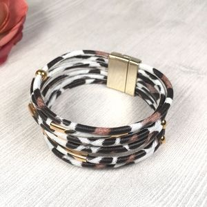 Leopard Print Wrap Bangle Magnet Bracelet